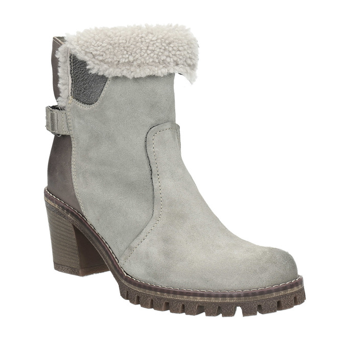 Kožená členková obuv s kožúškom manas, šedá, 696-2602 - 13