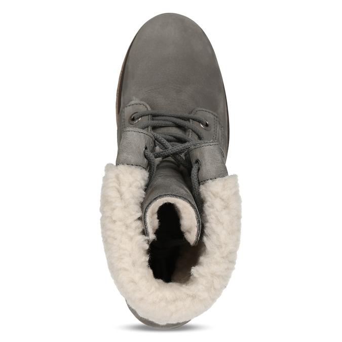 Šedá dámska kožená zimná obuv so zateplením weinbrenner, šedá, 696-2168 - 17