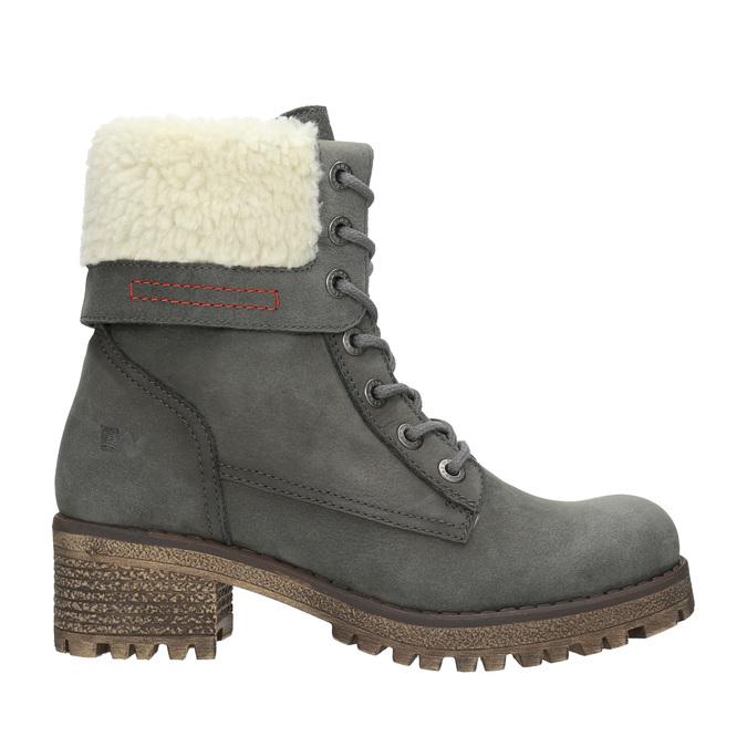 Šedá dámska kožená zimná obuv so zateplením weinbrenner, šedá, 696-2168 - 26