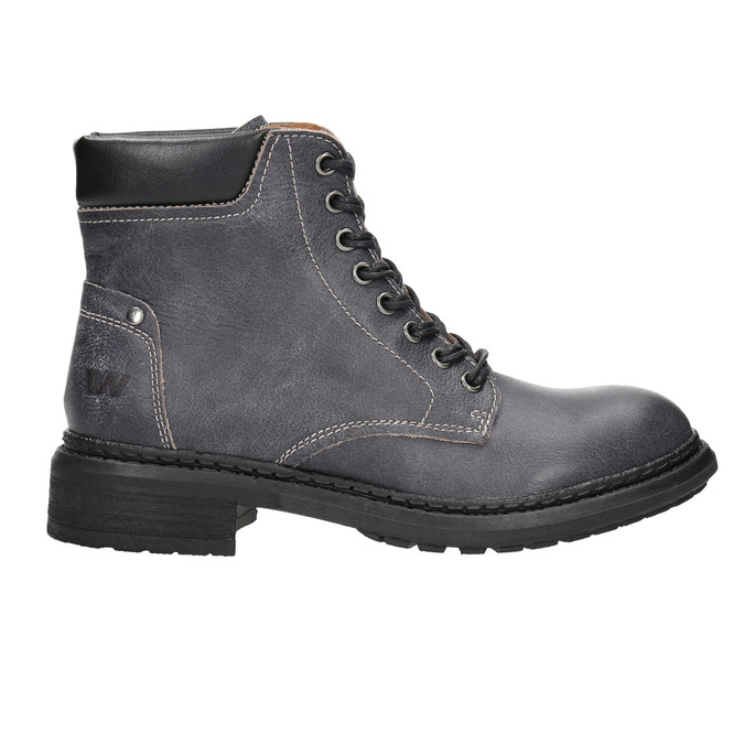 Dámska kožená členková obuv weinbrenner, šedá, 596-6632 - 15