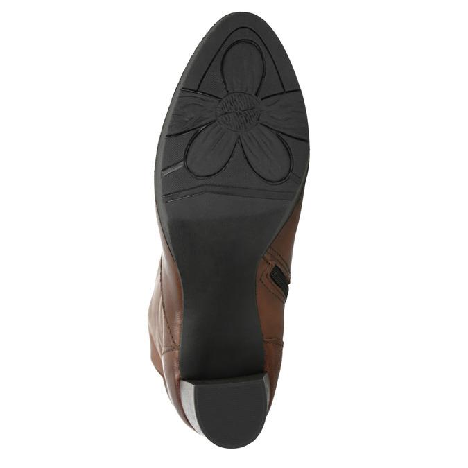 Dámske kožené čižmy na podpätku bata, hnedá, 796-4643 - 26