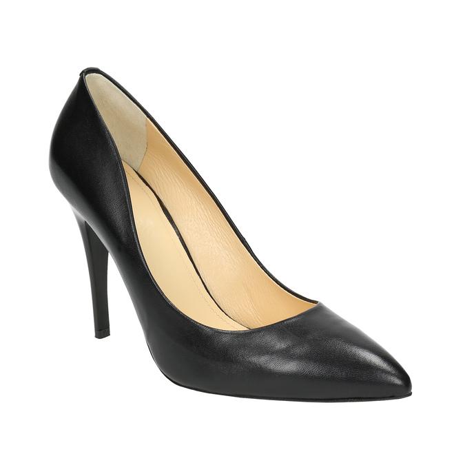 Čierne kožené lodičky bata, čierna, 726-6645 - 13