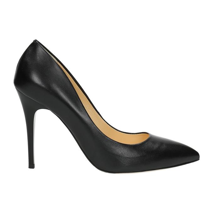 Čierne kožené lodičky bata, čierna, 726-6645 - 15
