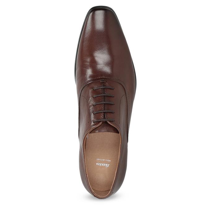 Hnedé kožené Oxford poltopánky bata, hnedá, 826-3808 - 17