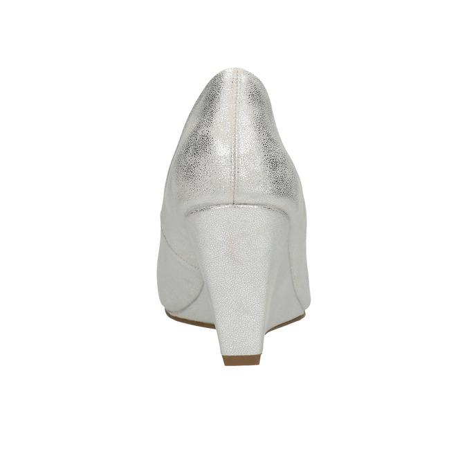 Strieborné lodičky na klínovom podpätku bata, strieborná, 721-1608 - 17