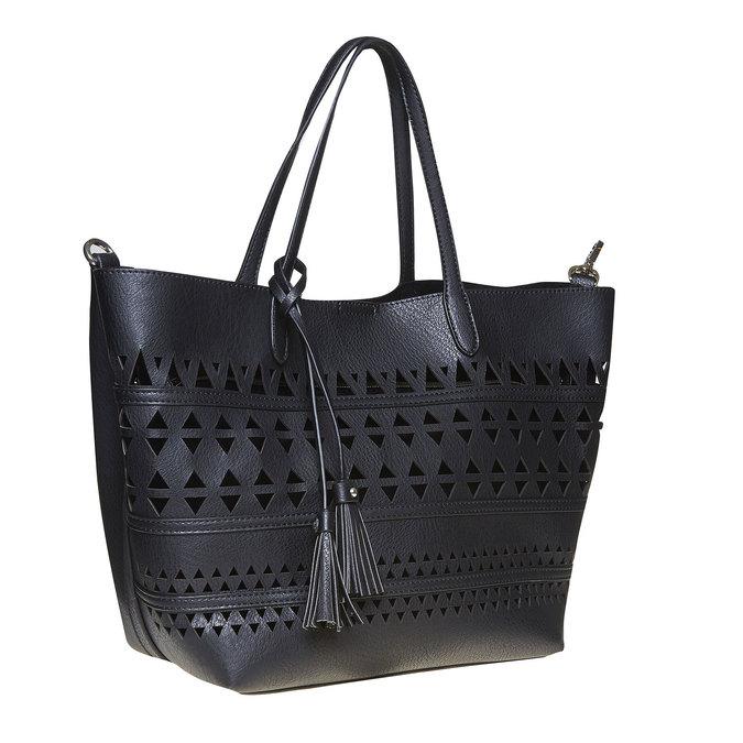 Dámska kabelka s perforáciou bata, čierna, 961-6274 - 13