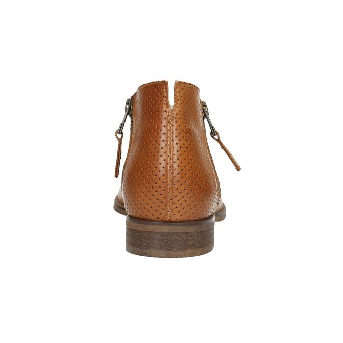 Kožené členkové čižmy s perforáciou bata, hnedá, 596-4647 - 17
