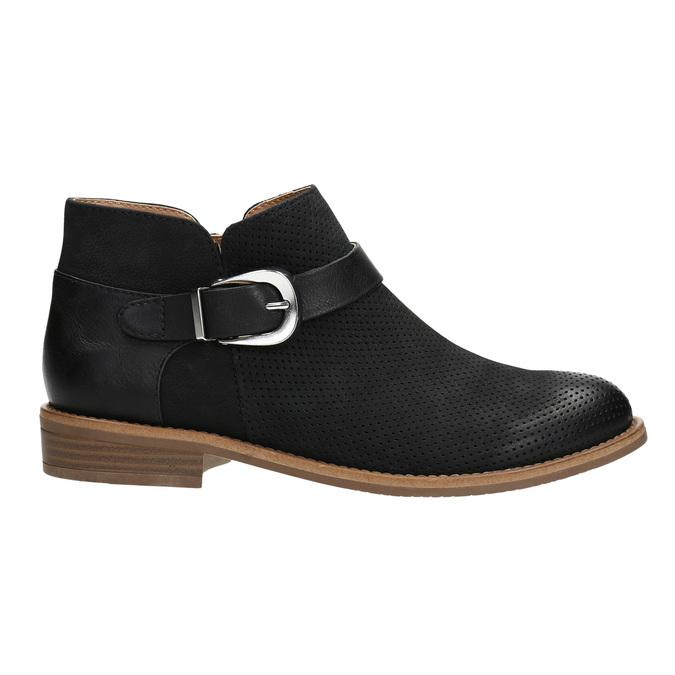 Kožená členková obuv so sponou bata, čierna, 596-6634 - 15