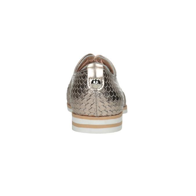 Kožené poltopánky s motívom šupín bata, zlatá, 526-8627 - 17