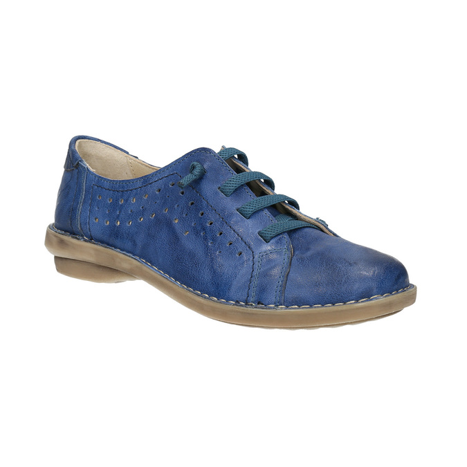 Modré kožené poltopánky v ležérnom štýle bata, modrá, 526-9624 - 13