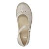 Kožené baleríny s remienkom cez priehlavok bata, béžová, 526-2622 - 19