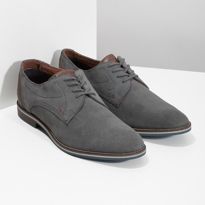 Ležérne kožené poltopánky šedé bata, šedá, 823-2600 - 26