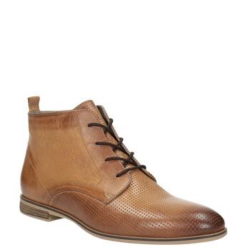 Kožená členková obuv s perforáciou bata, hnedá, 596-4645 - 13