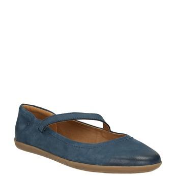 Dámske kožené baleríny s remienkom bata, modrá, 526-9620 - 13