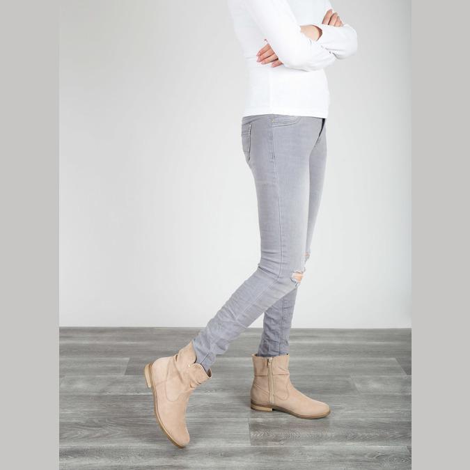 Dámske členkové čižmy bata, béžová, 599-8614 - 18