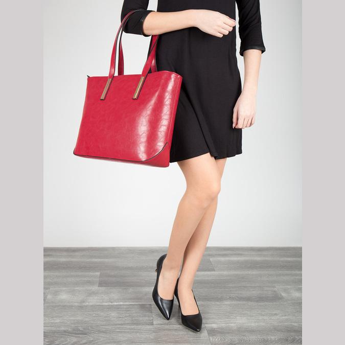 Červená kabelka v Shopper štýle bata, červená, 961-5699 - 17