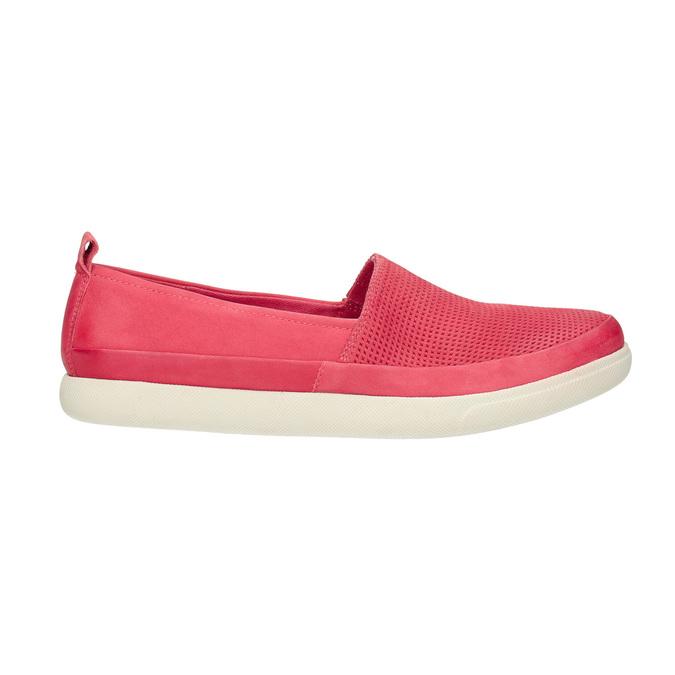 Kožená obuv s perforáciou bata-light, ružová, 516-5601 - 15