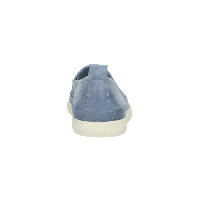 Dámska kožená obuv s perforáciou bata-light, modrá, 516-9601 - 17