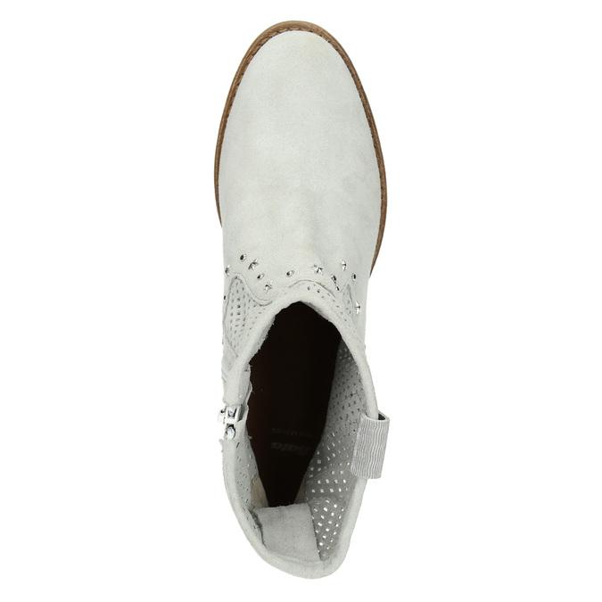 Kožené členkové čižmy bata, šedá, 596-2653 - 19