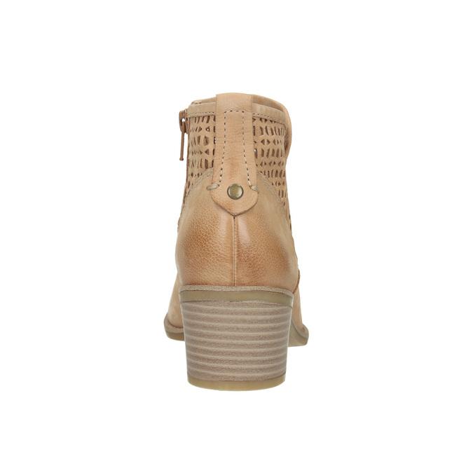 Členkové dámske čižmy s perforáciou bata, hnedá, 696-3643 - 17