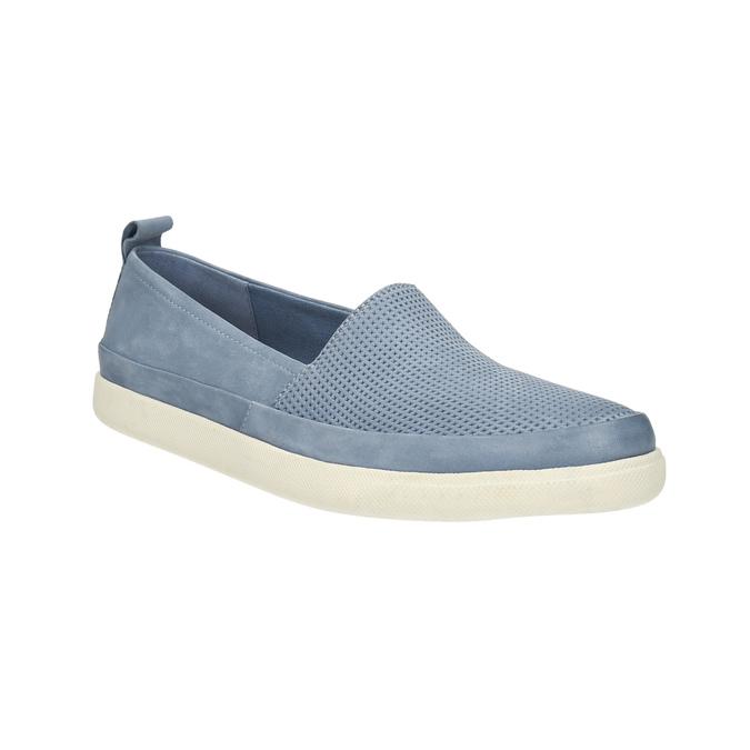Dámska kožená obuv s perforáciou bata-light, modrá, 516-9601 - 13