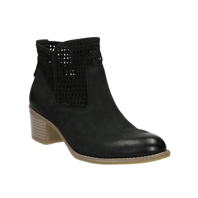 Kožené dámske jarné čižmy bata, čierna, 696-6643 - 13