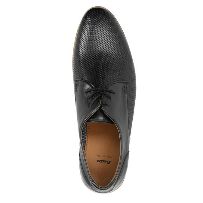 Čierne kožené poltopánky so svetlou podošvou bata, čierna, 824-6807 - 19