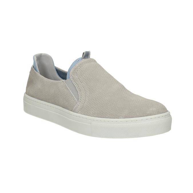 Dámska kožená Slip-on obuv bata, šedá, 516-2600 - 13