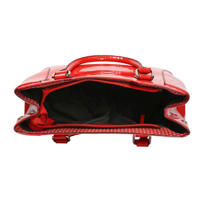 Červená lakovaná kabelka bata, červená, 961-5684 - 15