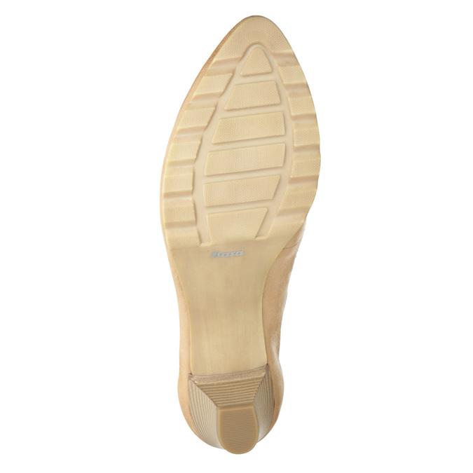 Kožené lodičky na nízkom podpätku bata, béžová, 626-8639 - 17