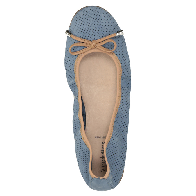Kožené modré baleríny s pružným lemom bata, modrá, 526-9617 - 19