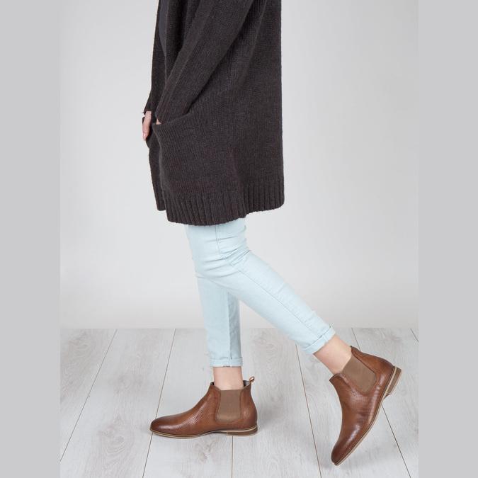 Kožené členkové Chelsea Boots s perforáciou bata, hnedá, 596-4644 - 18