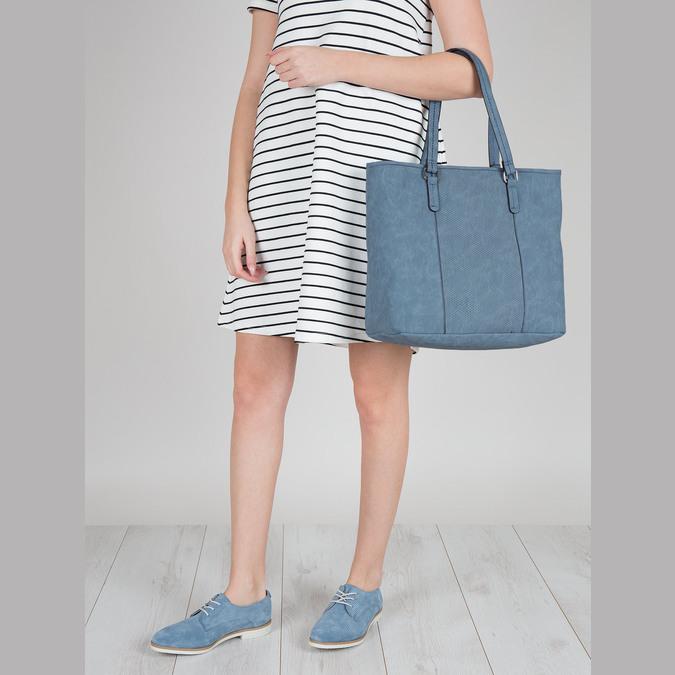 Modré kožené poltopánky bata, modrá, 523-9600 - 18