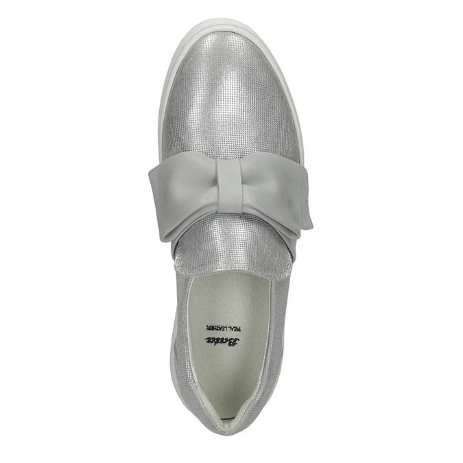 Kožená Slip-on obuv s mašľou bata, strieborná, 516-2605 - 19