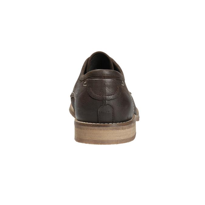 Hnedé kožené poltopánky s výrazným prešitím bata, hnedá, 826-4815 - 17