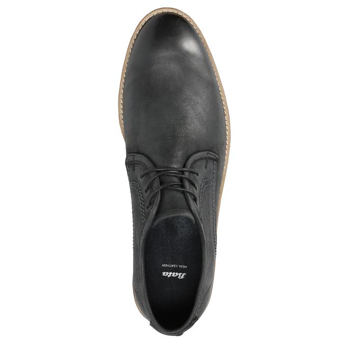 Kožené pánske poltopánky s výrazným prešitím bata, čierna, 826-6815 - 19