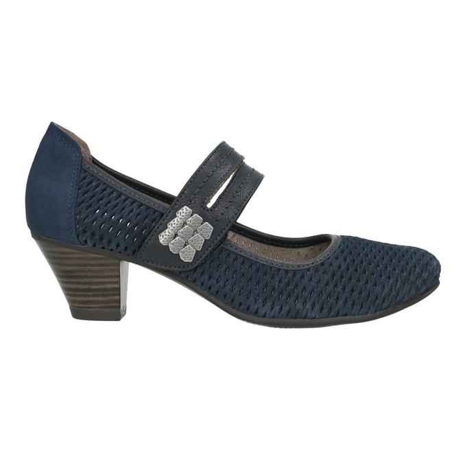 Modré kožené lodičky šírky H bata, modrá, 623-9600 - 26