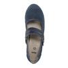 Modré kožené lodičky šírky H bata, modrá, 623-9600 - 19