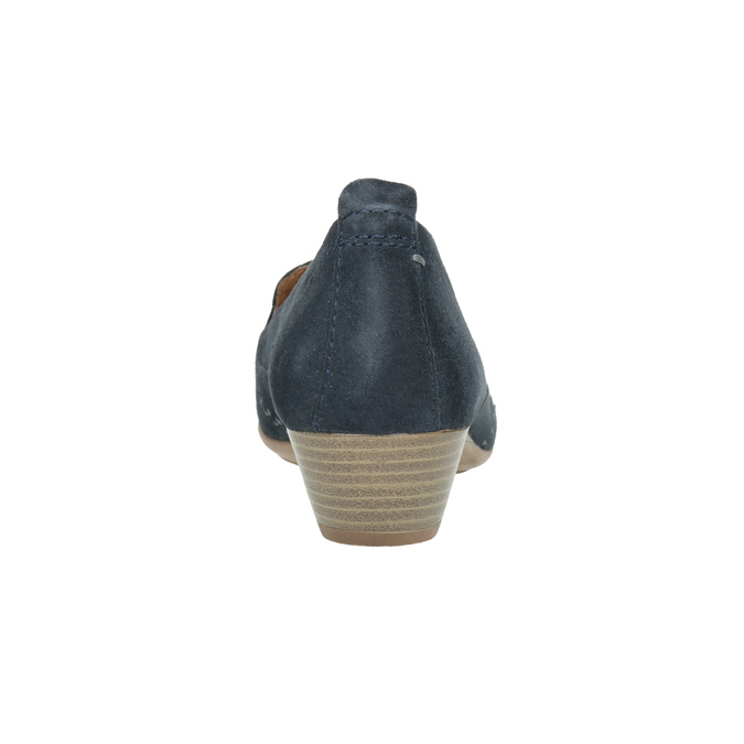 Dámske kožené mokasíny šírky H bata, modrá, 523-9603 - 17