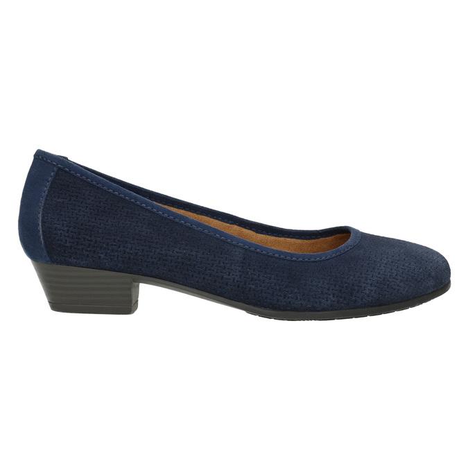 Kožené lodičky šírky H bata, modrá, 623-9601 - 15