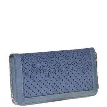 Modrá peňaženka s perforáciou bata, modrá, 941-9147 - 13