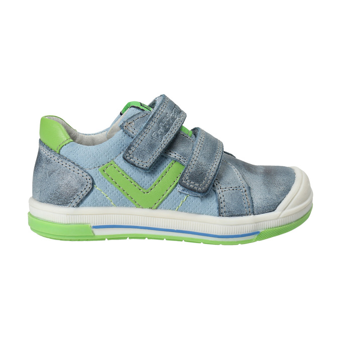 Detská kožená obuv na suchý zips bubblegummers, šedá, 116-2600 - 19