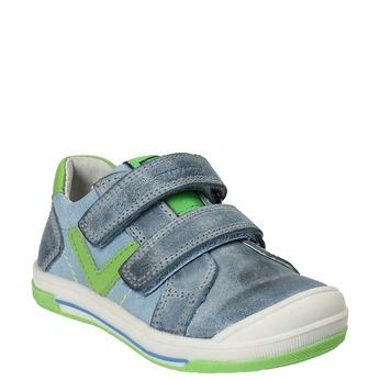 Detská kožená obuv na suchý zips bubblegummers, šedá, 116-2600 - 13