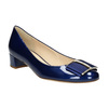 Kožené lodičky s mašľou hogl, modrá, 628-9400 - 13
