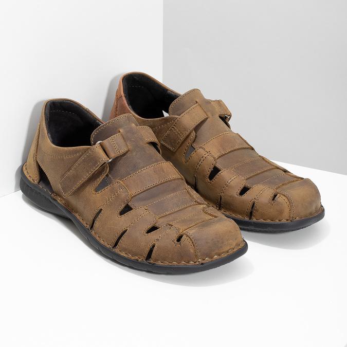 Kožené hnedé pánske sandále bata, hnedá, 864-4600 - 26