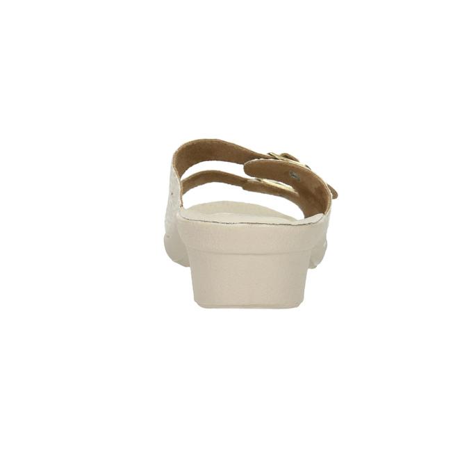 Dámska domáca obuv na podpätku bata, béžová, 579-8611 - 17