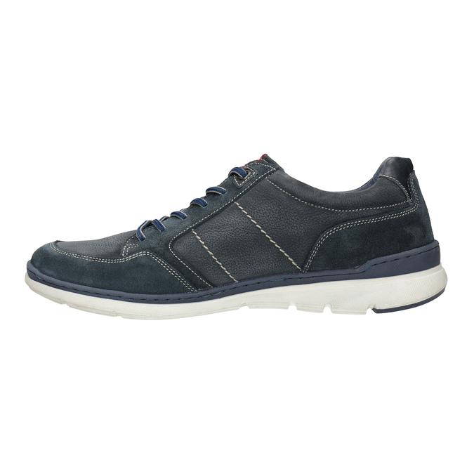 Ležérne tenisky z brúsenej kože bata, modrá, 846-9639 - 26