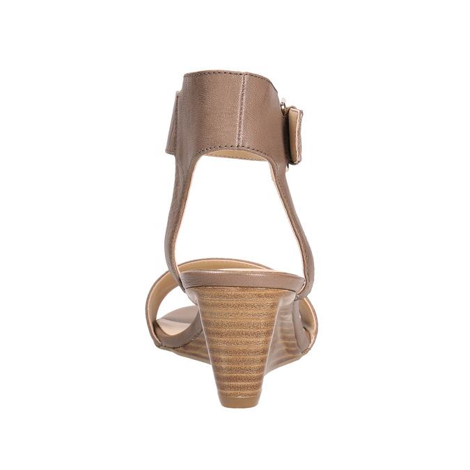 Kožené sandále na kline bata, hnedá, 666-4607 - 17