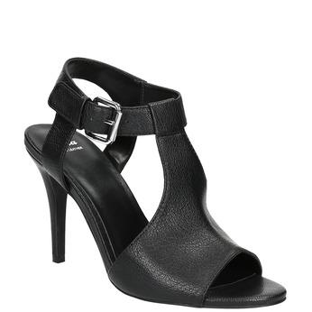 Kožené čierne sandále na podpätku bata, čierna, 766-6600 - 13