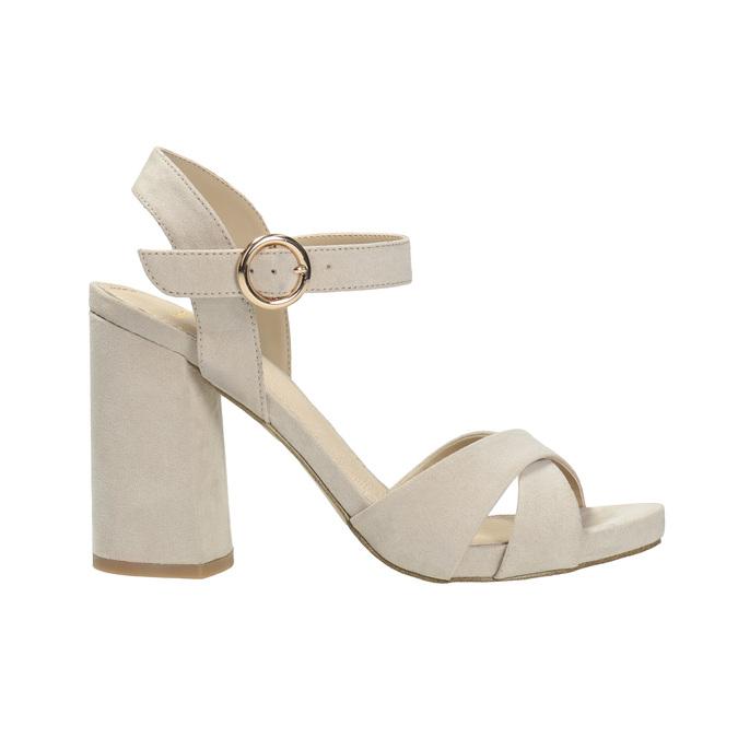 Dámske sandále na masívnom podpätku bata, béžová, 769-8602 - 15
